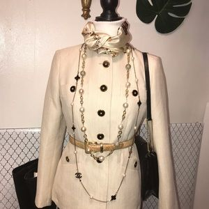 Nipon Mandarin collar ivory  linen look blazer